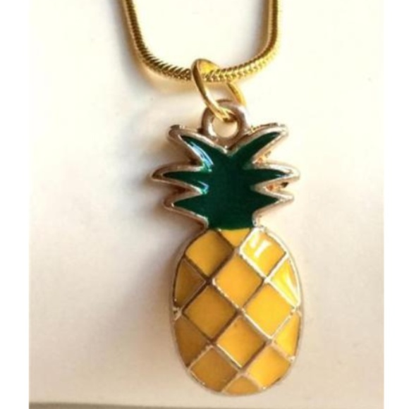 2  x Pineapple Yellow Enamel Pendant Charms Gold Plated
